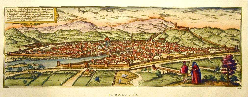 City map Florentia Florence Firenze